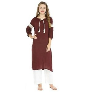 ShoppingMantraS.com sharing Best Offer on Pannkh Women Polyester Solid Straight Kurta - Maroon. checkout now and buy at best price in India.