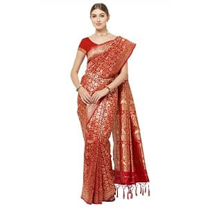 Discount on IDIKA Women's Banarasi Art Silk Saree With Blouse Piece - red - at Best Price