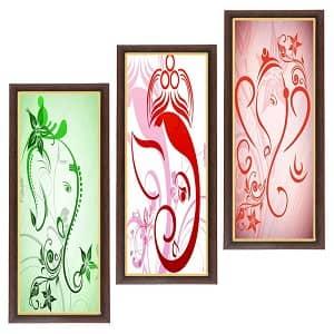 Wens 'Ganesha Fine Art' Painting (MDF, 18 cm x 43 cm, Multicolour)